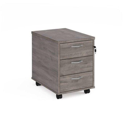 3 Draw Grey Oak Pedestal - Under Desk Pedestal