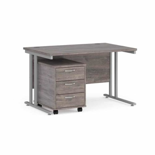 Grey Oak Desk and 3 Draw Pedestal 120mm