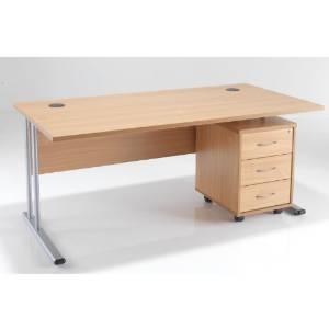 BIMI Oak Rectangular Desk with 3 Draw Mobile Pedestal - Desk 1400 x 800