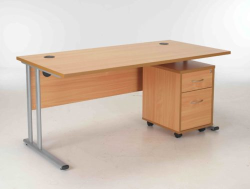BIMI Oak Rectangular Desk with 2 Draw Mobile Pedestal - Desk 1600 x 800