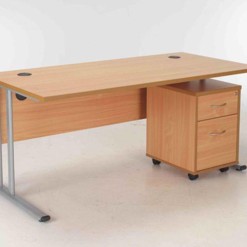 BIMI Oak Rectangular Desk with 2 Draw Mobile Pedestal - Desk 1800 x 800