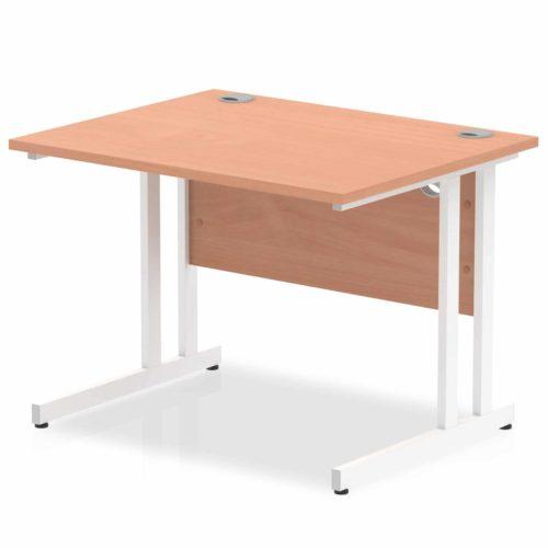 Slimline 1000mm x 600mm Rectangular Straight Desk in Beech