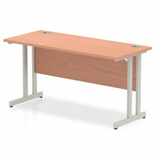 Slimline 1400mm x 600mm Rectangular Straight Desk in Beech