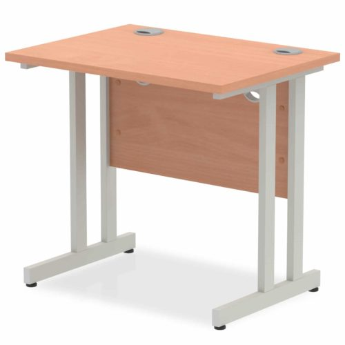 Slimline 800mm x 600mm Rectangular Straight Desk in Beech