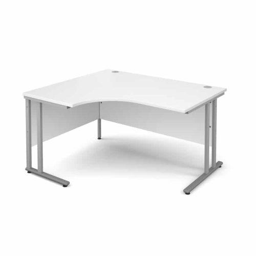 White 1400mm Left Hand Ergonomic Corner Desk-0