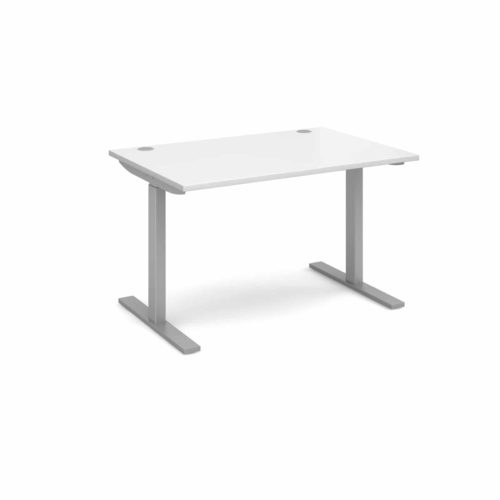 Elev8 1200 x 800 Sit Stand Desk - Silver frame - White-0
