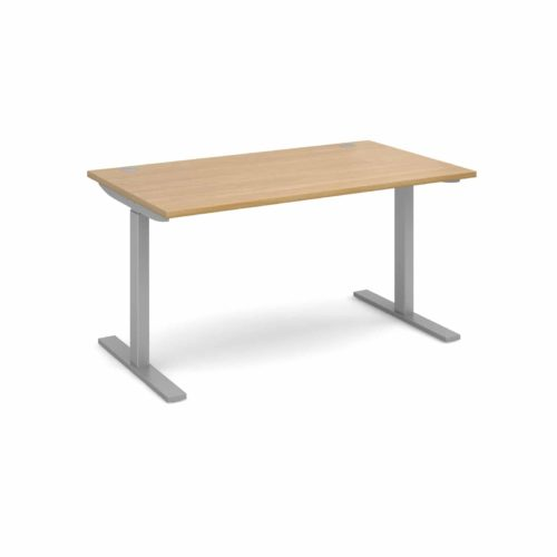 Elev8 1400 x 800 Sit Stand Desk - Silver frame - Oak-0