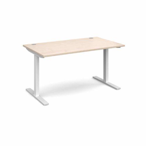 Elev8 1400 x 800 Sit Stand Desk - White frame - Maple-0