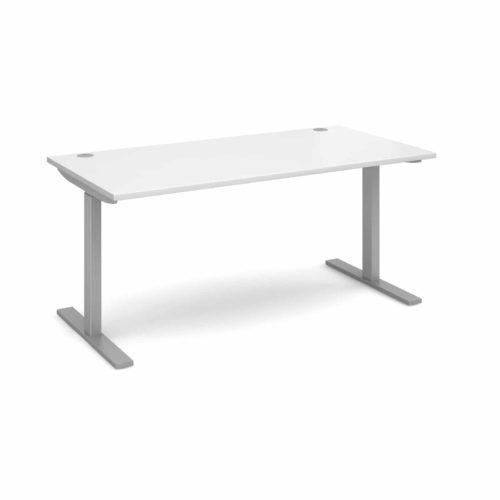 Elev8 1600 x 800 Sit Stand Desk - Silver frame - White-0