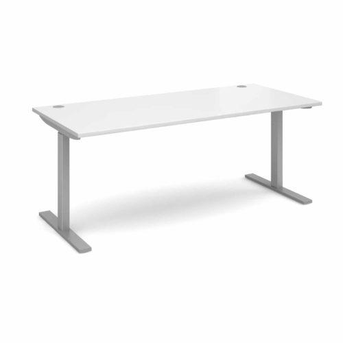 Elev8 1800 x 800 Sit Stand Desk - Silver frame - White-0