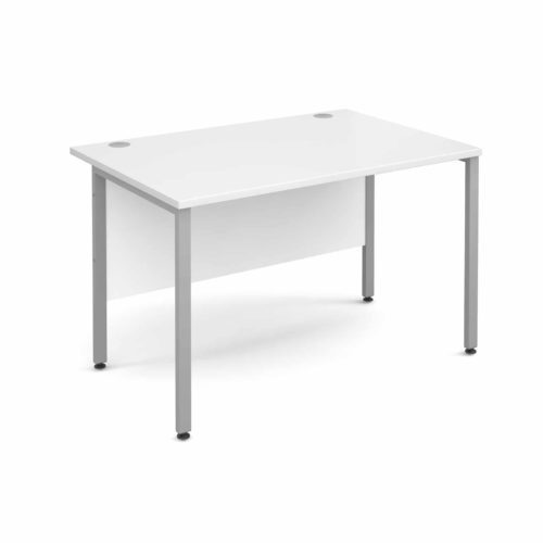 H Frame 1600mm Deep Straight WHITE Ergonomic Office Desk-0