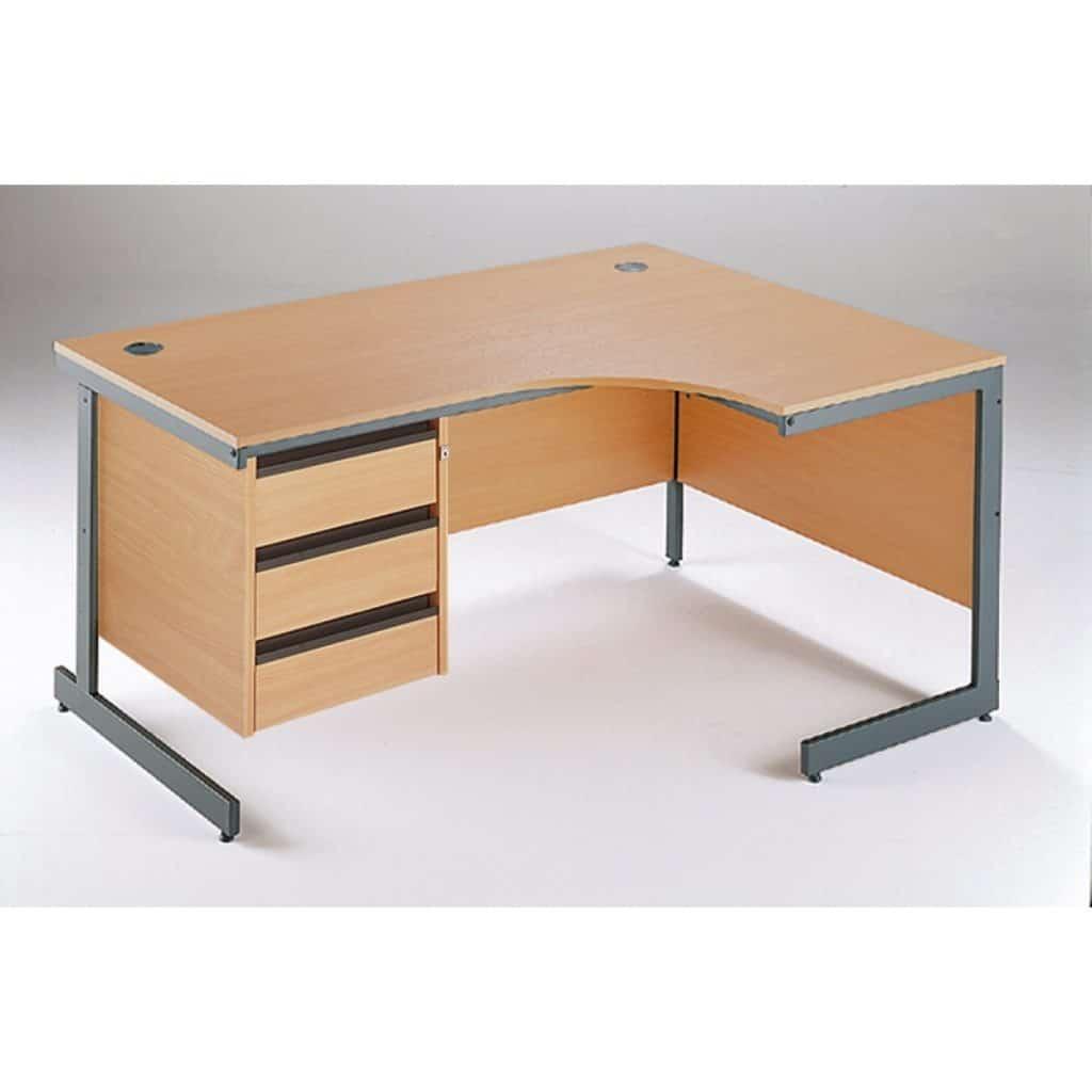 Maestro Cantilever Left Hand Ergonomic Desk 3 Drawer