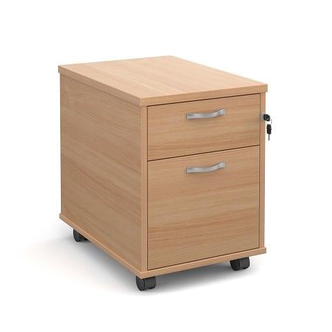 Ready Built Under Desk 2 Drawer Mobile Pedestal Beech-0