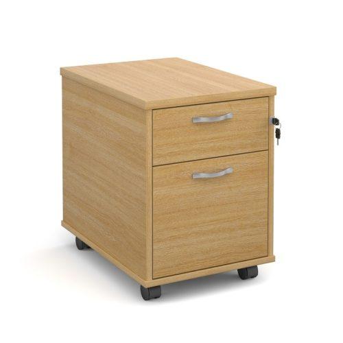 Ready Built Under Desk 2 Drawer Mobile Pedestal Oak-0